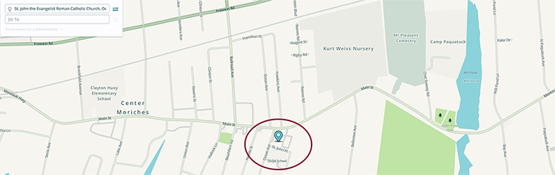 Waze map of how to get to St. John The Evangelist in Center Moriches, NY